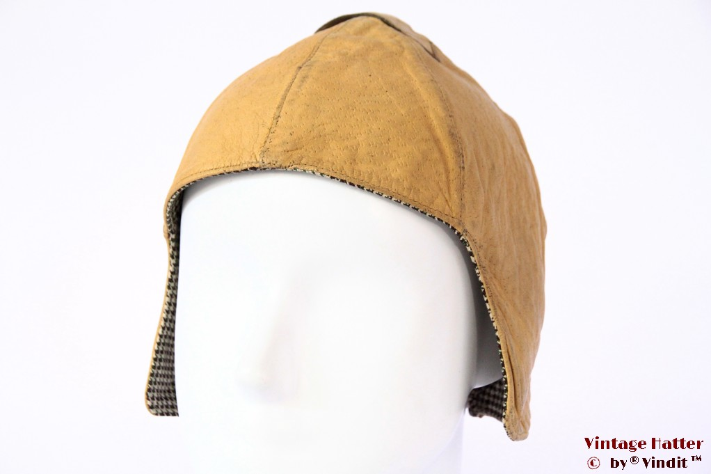 Aviator cap caramel beige yellow leather 54-56 (XS/S)