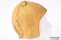 Aviator cap caramel beige yellow leather 54-56 (XS/S)