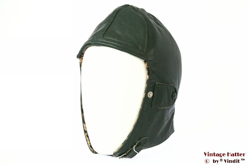 Aviator cap dark green leather 54-56 (S/M)