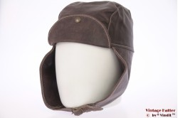 Aviator cap brown leather 58