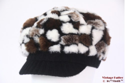 Balloon-type cap white brown faux fur 54-58