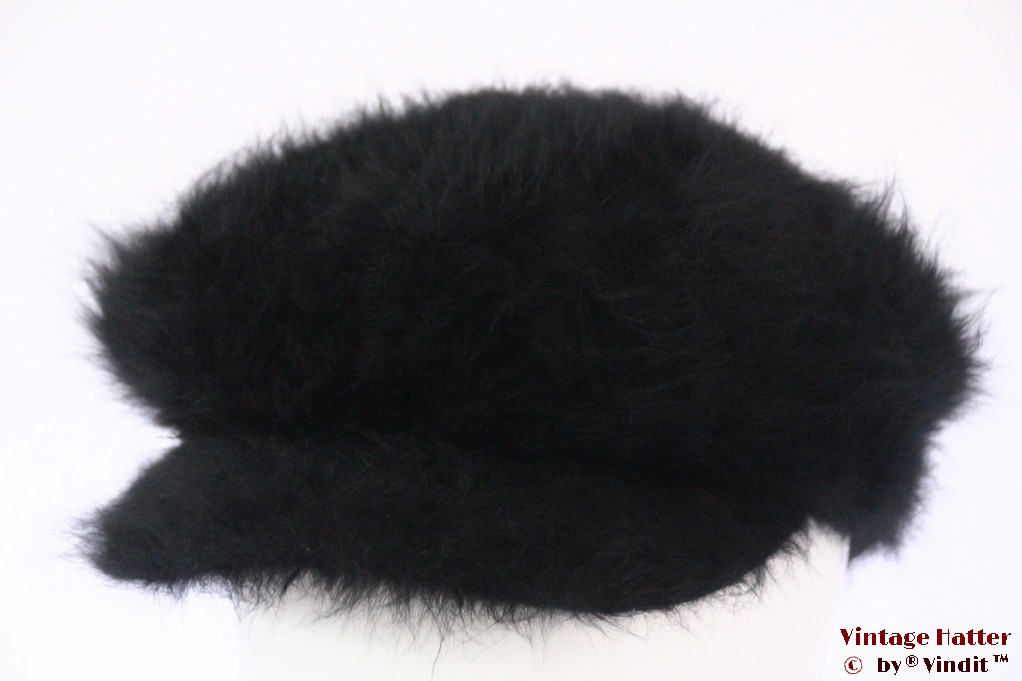 Balloon-type cap black angora wool 56-58