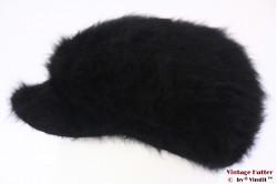 Balloon-type cap black angora wool 56-58