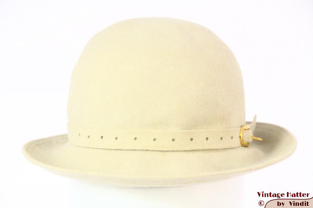 Ladies hat very soft greenish white felt 53 (XXS)