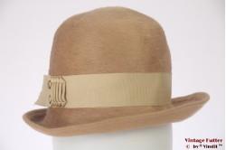 Ladies hat beige brown fur felt 55 (S)