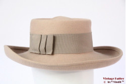 Ladies hat beige felt 55 (S)