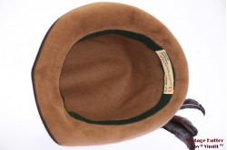 Ladies hunting hat Annemarie beige velvet with feathers 54 (XS)
