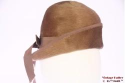 Cloche dophoed beige bruin haarvilt 54 (XS)