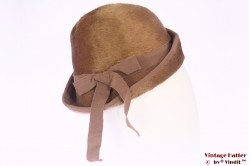 Ladies Cloche hat beige brown fur felt 54 (XS)