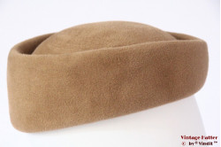 Cocktail pillbox hat Tonak beige briwn velour with feathers 56