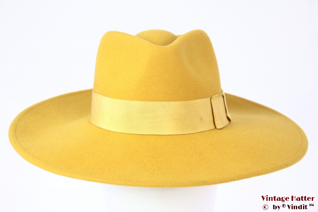 Wide ladies fedora Brixton Joanna yellow felt 56 [New Sample]