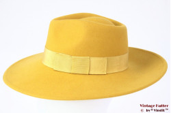 Wide ladies fedora Brixton Joanna yellow felt 56 [New Sample]