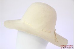 Ladies floppy hat Mayser cream white felt 56