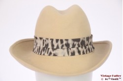 Ladies hat beige felt with animal priint band 55 (S)