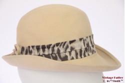Ladies hat beige felt with animal priint band 55 (S)