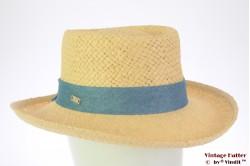 Ladies summer hat Hawkins yellow paper blue ribbon 54-57 [new]