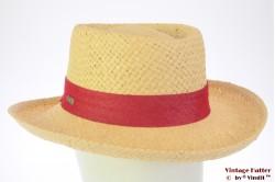 Ladies summer hat Hawkins yellow paper red ribbon 54-57 [new]