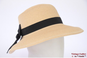 Ladies Summerhat Hawkins yellow paper with big bow 53-57 [new]