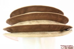 Ladies Pagode-hat The Madhatter yellow beige - caramel faux leather 54-57 [New]