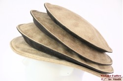Ladies Pagode-hat The Madhatter yellow beige - blackish grey faux leather 54-57 [New]