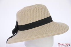 Ladies Summerhat Hawkins beige grey paper with big bow 53-57 [new]