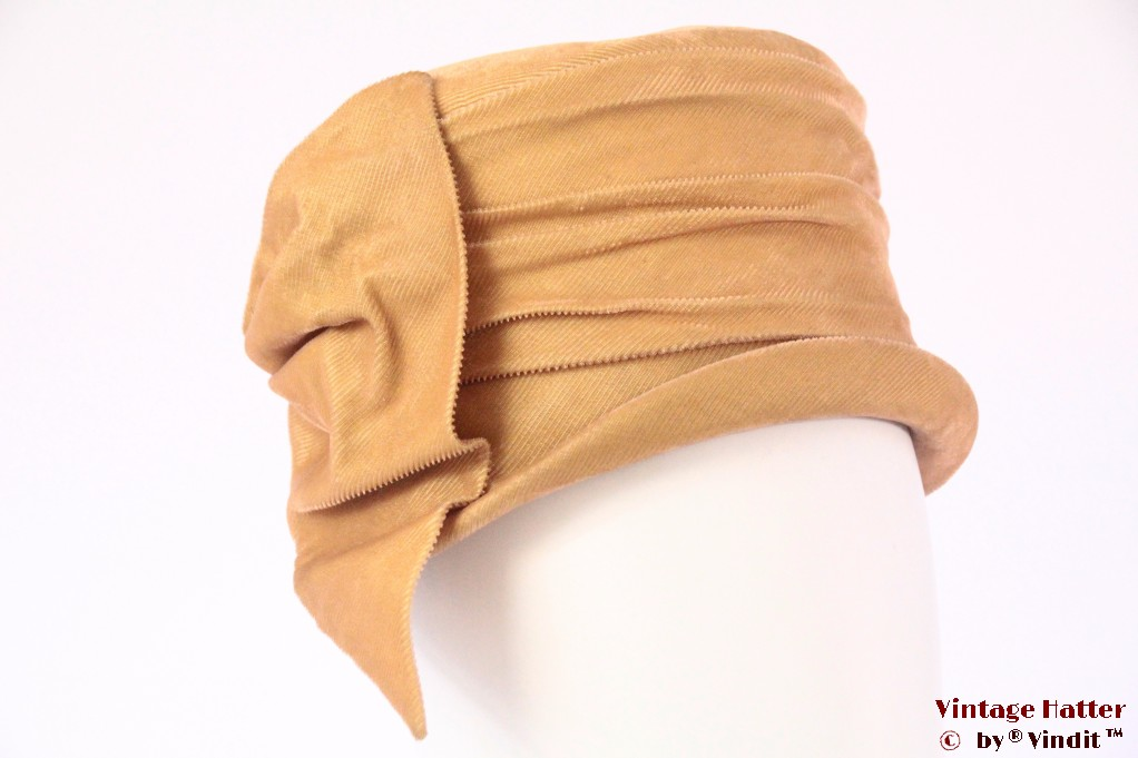 Cloche hat Marie Claude yellow beige corduroy 54 (XS)