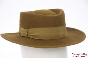 Ladies Fedora hat yellowish green felt 55 (S)