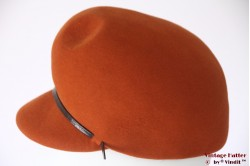 Ladies cap hat Morreton with 3 dents dark orange 55 (S)