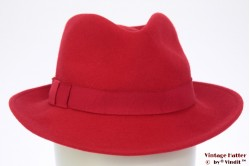 Ladies fedora red felt 55