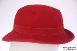 Ladies fedora red felt 56