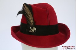 Ladies hunting hat red velour with feathers 55 (S)