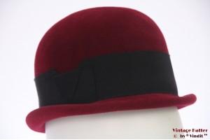 Ladies bowler-type hat dark red velour 53 (XXS)