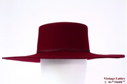 Wide ladies hat Brixton Buckely burgundy felt 56 [New Sample]