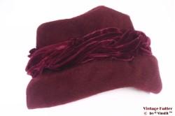 Ladies hat Rossi burgundy red fur felt 55 (S)