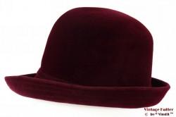 Ladies hat A.S.S. burgundy velvet 55 (S)