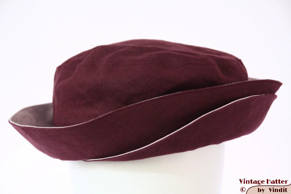 Ladies summer hat The Madhatter burgundy flexible linnen 56-57 [New]
