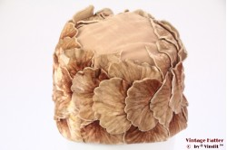 Ladies cloche bucket hat beige pink velvet flowers 54,5 (XS)