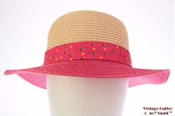 Ladies summerhat Hawkins beige and pink with polkadot band 53-57 [new]
