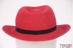 Ladies fedora red felt with Asian sign 55 (S)
