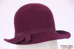 Ladies hat burgundy purple felt 55 (S)