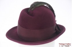 Ladies hunting hat burgundy purple felt with feathers 55 (S)