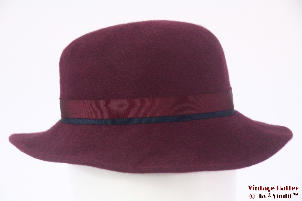 Ladies hat VEB burgundy purple fur felt 55 (S)