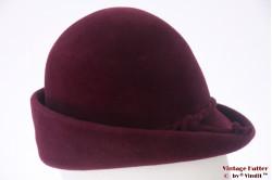 Ladies hat burgundy purple velour 56