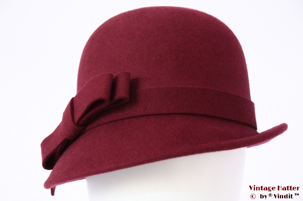 Ladies hat Hawkins burgundy felt 54 - 58 [new]