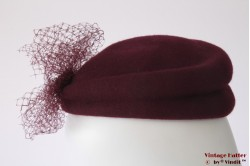 Cocktail Pillbox hat burgundy purple +/- 56