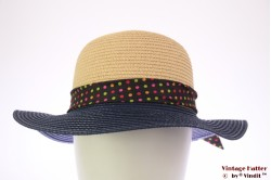 Ladies summerhat Hawkins beige and blue with polkadot band 53-57 [new]