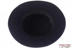 Ladies hat dark blue felt with black velvet band 56