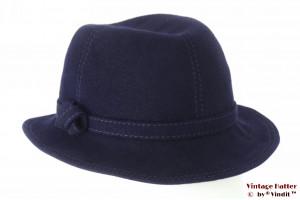 Ladies hat dark blue felt with stitchings 54 (XS)