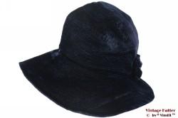 Ladies hat handmade dark blue velvet 56
