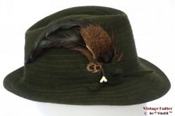 Ladies hunting fedora Exquisit dark green fur felt with feathers 55 (S)